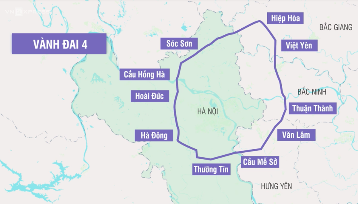 Đường Vành đai 4 đi qua nhiều quận, huyện của Hà Nội. Ảnh minh họa, nguồn: internet